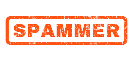spammer: Spammer text rubber seal stamp watermark. Tag inside rounded rectangular shape with grunge design and dust texture. Horizontal vector orange ink sticker on a white background.