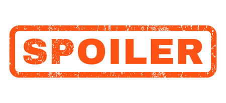 spoiler: Spoiler text rubber seal stamp watermark. Tag inside rounded rectangular banner with grunge design and dirty texture. Horizontal vector orange ink emblem on a white background. Illustration
