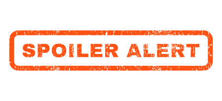 spoiler: Spoiler Alert text rubber seal stamp watermark. Tag inside rounded rectangular shape with grunge design and dirty texture. Horizontal vector orange ink sign on a white background.