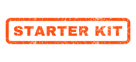 starter: Starter Kit text rubber seal stamp watermark. Caption inside rounded rectangular banner with grunge design and dust texture. Horizontal vector orange ink sticker on a white background.