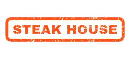 dirty house: Steak House text rubber seal stamp watermark. Caption inside rounded rectangular banner with grunge design and dirty texture. Horizontal vector orange ink sign on a white background.
