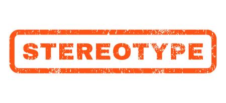 estereotipo: Estereotipo de caucho sello de marca de agua de texto sello. Etiqueta redondeada en el interior de la bandera rectangular con diseño de grunge y textura impuro. Horizontal signo tinta vector naranja sobre un fondo blanco.