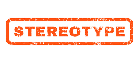stereotype: Stereotype text rubber seal stamp watermark. Tag inside rounded rectangular banner with grunge design and unclean texture. Horizontal vector orange ink sign on a white background.