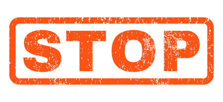 terminate: Stop text rubber seal stamp watermark. Caption inside rounded rectangular banner with grunge design and scratched texture. Horizontal vector orange ink sticker on a white background.