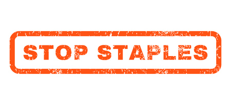 Stop Staples text rubber seal stamp watermark. Caption inside rounded rectangular shape with grunge design and scratched texture. Horizontal vector orange ink sticker on a white background.