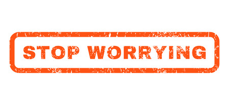 worrying: Stop Worrying text rubber seal stamp watermark. Tag inside rounded rectangular shape with grunge design and dirty texture. Horizontal vector orange ink sign on a white background. Illustration