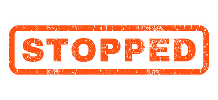 stopped: Stopped text rubber seal stamp watermark. Tag inside rounded rectangular shape with grunge design and unclean texture. Horizontal vector orange ink sign on a white background. Illustration