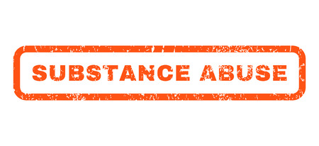 substance abuse: Substance Abuse text rubber seal stamp watermark. Tag inside rounded rectangular shape with grunge design and unclean texture. Horizontal vector orange ink emblem on a white background.
