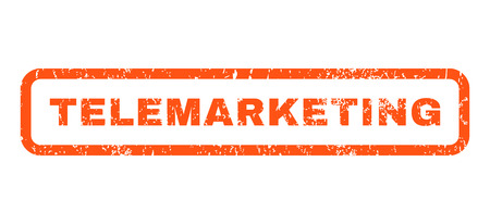 telemarketing: Telemarketing text rubber seal stamp watermark. Tag inside rounded rectangular banner with grunge design and dirty texture. Horizontal vector orange ink emblem on a white background.
