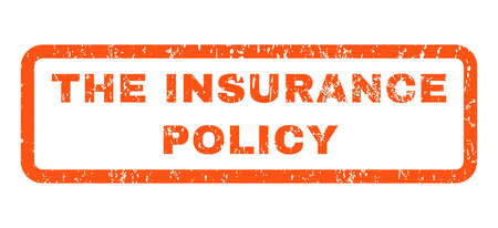 insurance policy: The Insurance Policy text rubber seal stamp watermark. Caption inside rounded rectangular banner with grunge design and unclean texture. Horizontal vector orange ink emblem on a white background. Illustration