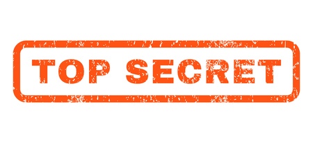 top secret: Top Secret text rubber seal stamp watermark. Caption inside rounded rectangular shape with grunge design and dirty texture. Horizontal vector orange ink emblem on a white background.
