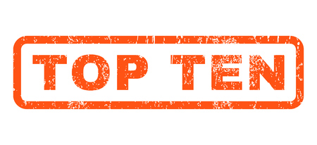 top ten: Top Ten text rubber seal stamp watermark. Tag inside rounded rectangular shape with grunge design and dust texture. Horizontal vector orange ink sign on a white background. Illustration