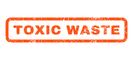ravage: Toxic Waste text rubber seal stamp watermark. Tag inside rounded rectangular banner with grunge design and dirty texture. Horizontal vector orange ink sticker on a white background. Illustration