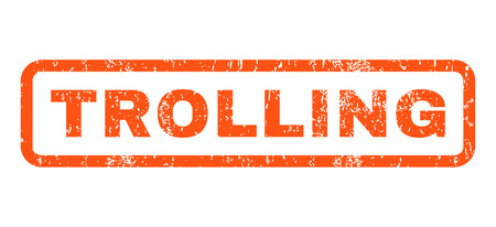 trolling: Trolling text rubber seal stamp watermark. Tag inside rounded rectangular banner with grunge design and unclean texture. Horizontal vector orange ink sign on a white background.