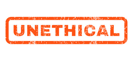 unethical: Unethical text rubber seal stamp watermark. Caption inside rounded rectangular shape with grunge design and dirty texture. Horizontal vector orange ink sign on a white background. Illustration