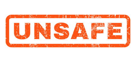 unsafe: Unsafe text rubber seal stamp watermark. Tag inside rounded rectangular banner with grunge design and scratched texture. Horizontal vector orange ink emblem on a white background. Illustration