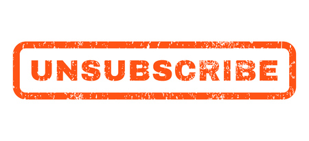Unsubscribe text rubber seal stamp watermark. Tag inside rounded rectangular shape with grunge design and dust texture. Horizontal vector orange ink sticker on a white background.