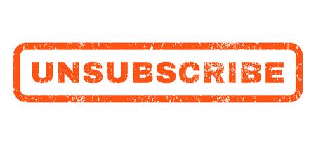 Afmelden rubber zegel stempel watermerk tekst. Label binnen afgeronde rechthoekige vorm met grunge ontwerp en stof textuur. Horizontale vector oranje inktsticker op een witte achtergrond.