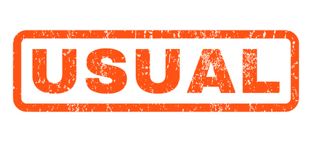 usual: Usual text rubber seal stamp watermark. Tag inside rounded rectangular shape with grunge design and dirty texture. Horizontal vector orange ink sticker on a white background. Illustration