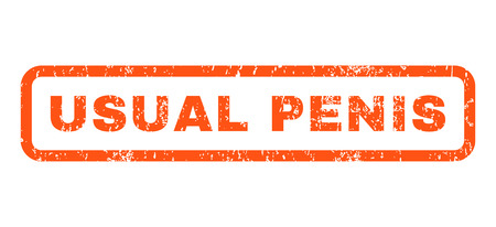 usual: Usual Penis text rubber seal stamp watermark. Tag inside rounded rectangular shape with grunge design and dust texture. Horizontal vector orange ink emblem on a white background.