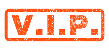 honored: V.I.P. text rubber seal stamp watermark. Caption inside rounded rectangular shape with grunge design and dust texture. Horizontal vector orange ink sign on a white background. Illustration