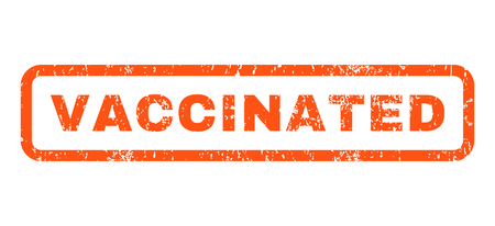 Vaccinated text rubber seal stamp watermark. Caption inside rounded rectangular banner with grunge design and dust texture. Horizontal vector orange ink sticker on a white background.
