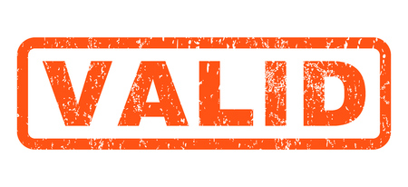 valid: Valid text rubber seal stamp watermark. Caption inside rounded rectangular shape with grunge design and dirty texture. Horizontal vector orange ink emblem on a white background.