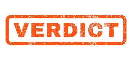 verdict: Verdict text rubber seal stamp watermark. Caption inside rounded rectangular shape with grunge design and dirty texture. Horizontal vector orange ink sticker on a white background. Illustration