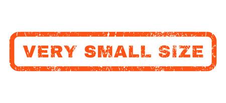 Marca de agua del sello del sello de goma del texto del tamaño muy pequeño. Etiqueta dentro de banner rectangular redondeado con diseño grunge y textura sucia. Vector horizontal muestra de tinta naranja sobre un fondo blanco. Ilustración de vector