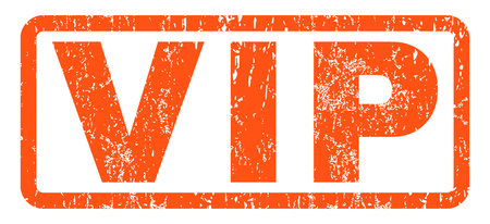 Vip text rubber seal stamp watermark. Tag inside rounded rectangular shape with grunge design and dirty texture. Horizontal vector orange ink sticker on a white background.