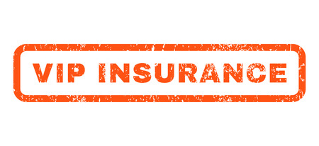 appreciated: Vip Insurance text rubber seal stamp watermark. Caption inside rounded rectangular shape with grunge design and dust texture. Horizontal vector orange ink sticker on a white background. Illustration