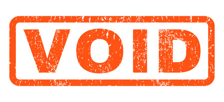 Void text rubber seal stamp watermark. Tag inside rounded rectangular shape with grunge design and dirty texture. Horizontal vector orange ink emblem on a white background. Vector Illustration