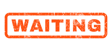 standby: Waiting text rubber seal stamp watermark. Caption inside rounded rectangular shape with grunge design and scratched texture. Horizontal vector orange ink emblem on a white background.