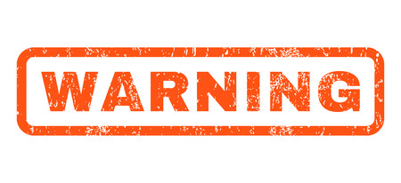 Warning text rubber seal stamp watermark. Tag inside rounded rectangular shape with grunge design and scratched texture. Horizontal vector orange ink sign on a white background.