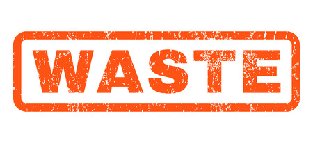 ravage: Waste text rubber seal stamp watermark. Tag inside rounded rectangular banner with grunge design and dust texture. Horizontal vector orange ink sign on a white background.