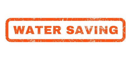 Water Saving text rubber seal stamp watermark. Tag inside rounded rectangular shape with grunge design and dirty texture. Horizontal vector orange ink sign on a white background.