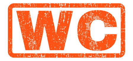 WC text rubber seal stamp watermark. Caption inside rounded rectangular banner with grunge design and unclean texture. Horizontal vector orange ink sign on a white background.