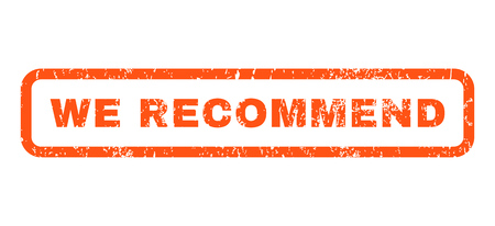 we recommend: We Recommend text rubber seal stamp watermark. Tag inside rounded rectangular banner with grunge design and dirty texture. Horizontal vector orange ink emblem on a white background.