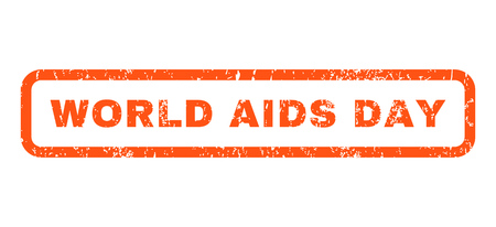 World AIDS Day text rubber seal stamp watermark. Tag inside rounded rectangular shape with grunge design and dust texture. Horizontal vector orange ink emblem on a white background. Illustration