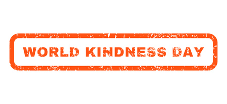 kindness: World Kindness Day text rubber seal stamp watermark. Tag inside rounded rectangular banner with grunge design and scratched texture. Horizontal vector orange ink emblem on a white background.