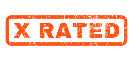 x rated: X Rated text rubber seal stamp watermark. Caption inside rounded rectangular shape with grunge design and dirty texture. Horizontal vector orange ink sign on a white background.