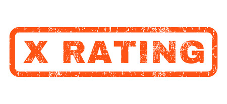 x rated: X Rating text rubber seal stamp watermark. Tag inside rounded rectangular banner with grunge design and scratched texture. Horizontal vector orange ink emblem on a white background.