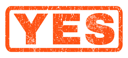Yes text rubber seal stamp watermark. Tag inside rounded rectangular shape with grunge design and dirty texture. Horizontal vector orange ink sign on a white background.