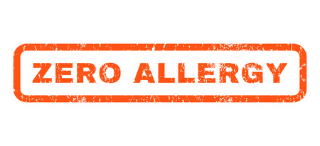 nil: Zero Allergy text rubber seal stamp watermark. Tag inside rounded rectangular shape with grunge design and scratched texture. Horizontal vector orange ink emblem on a white background. Illustration