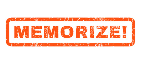 memorize: Memorize! text rubber seal stamp watermark. Tag inside rounded rectangular shape with grunge design and unclean texture. Horizontal vector orange ink emblem on a white background.