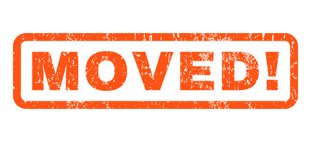 Moved! text rubber seal stamp watermark. Tag inside rounded rectangular shape with grunge design and dirty texture. Horizontal vector orange ink sign on a white background.
