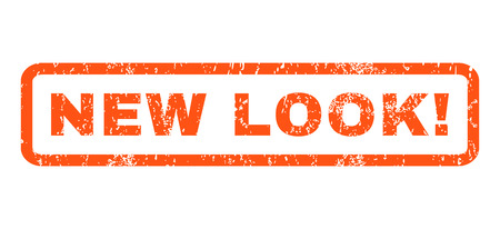new look: New Look! text rubber seal stamp watermark. Caption inside rounded rectangular banner with grunge design and dust texture. Horizontal vector orange ink sign on a white background.