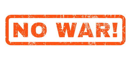 military draft: No War! text rubber seal stamp watermark. Tag inside rounded rectangular shape with grunge design and scratched texture. Horizontal vector orange ink sticker on a white background. Illustration