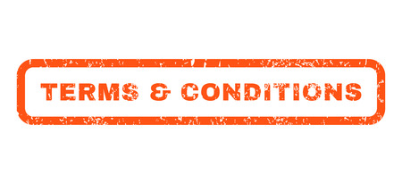Terms & Conditions text rubber seal stamp watermark. Caption inside rounded rectangular banner with grunge design and unclean texture. Horizontal vector orange ink sticker on a white background.