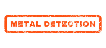 detection: Metal Detection text rubber seal stamp watermark. Caption inside rectangular banner with grunge design and dirty texture. Horizontal vector orange ink sign on a white background.